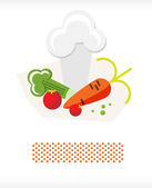 Vegetables and chefs hat A — Stock Vector