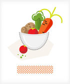 Vegetables in a bowl A — Stock Vector