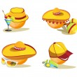 Smile. A set of images and hats - Stock Vector