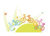 骑自行车者在草地上 — 图库矢量图片