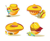 Smile. A set of images and hats — Stock Vector