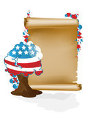 U.S. holidays. Scroll and tree A — Stock Vector