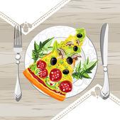 A slice of pizza on a plate — Stock Vector