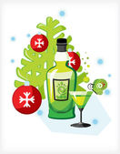 Celebratory bottle of absinthe — Stock Vector