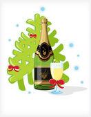 Celebratory bottle of champagne — Stock Vector