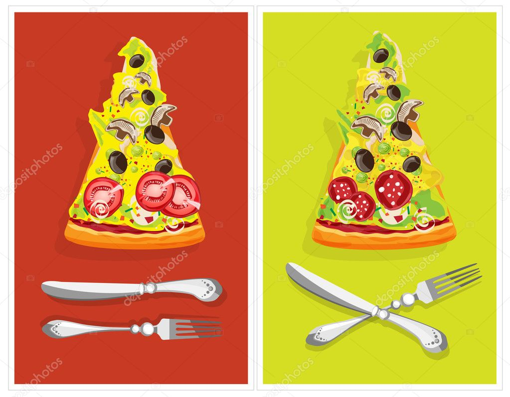 Double poster, with cutlery and two pizzas with salts and tomatoes — Stock Vector #4486525