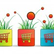 Will square with shopping carts, grass and flowers — Stock Vector