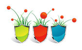 Icons SHIELD grass and flowers — Stock Vector