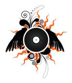 Vinyl LP record with wings — Stock Vector