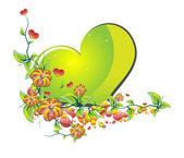 Flowers of Love Green — Stock Vector