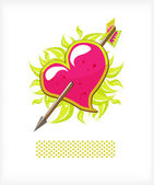 Heart and arrow, leaves — Stock Vector