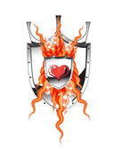 Heart flame shield — Vettoriale Stock