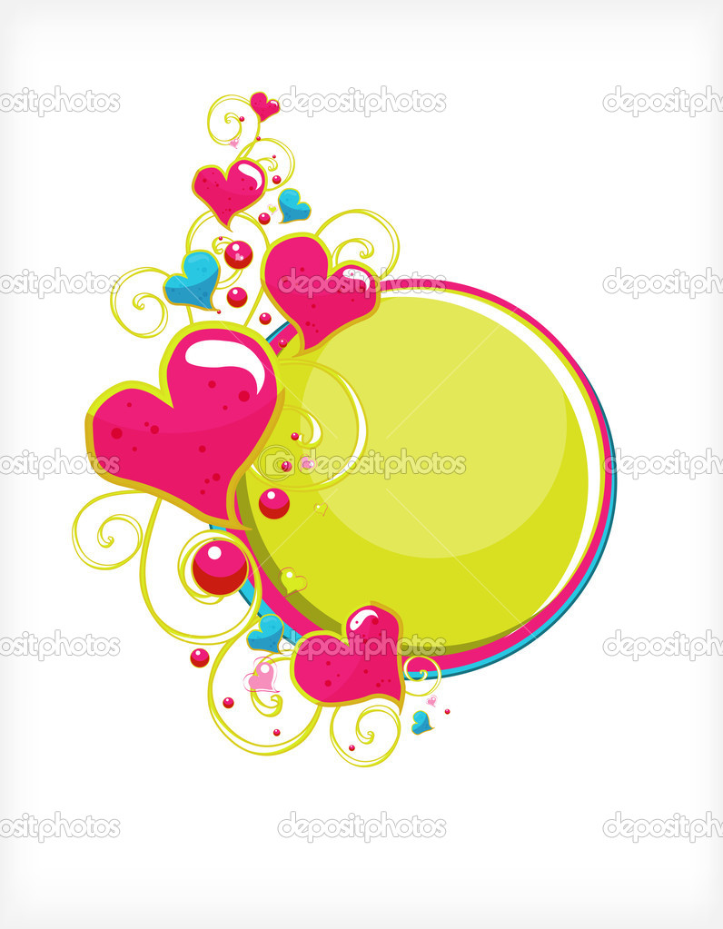 Frame from the hearts and scrolls in the form of postcards — Stock Vector #4885390