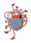 Bolso de coração, uma cauda — Vetorial Stock