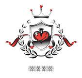сердце щит ленты — Cтоковый вектор