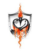 Corazón del metal — Vector de stock