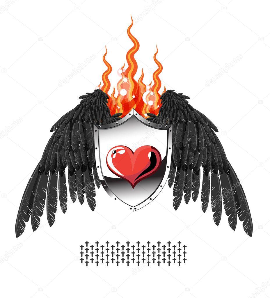 与翅膀和火焰盾牌后面的金属心