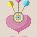 Poster Love Darts — Stock Vector