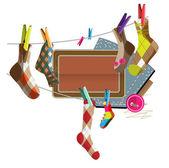 Sewing Socks — Stock Vector