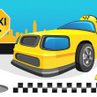 Yellow car taxi - Stock Vector