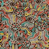 Ethnic seamless pattern with fish — Vetor de Stock