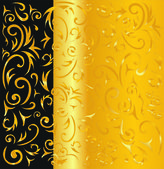 Black and gold ornamental background — Stock Vector