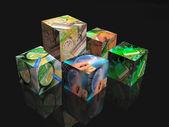 Cubes on black — Stock Photo