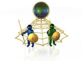 3d mans with globe — Stock Photo