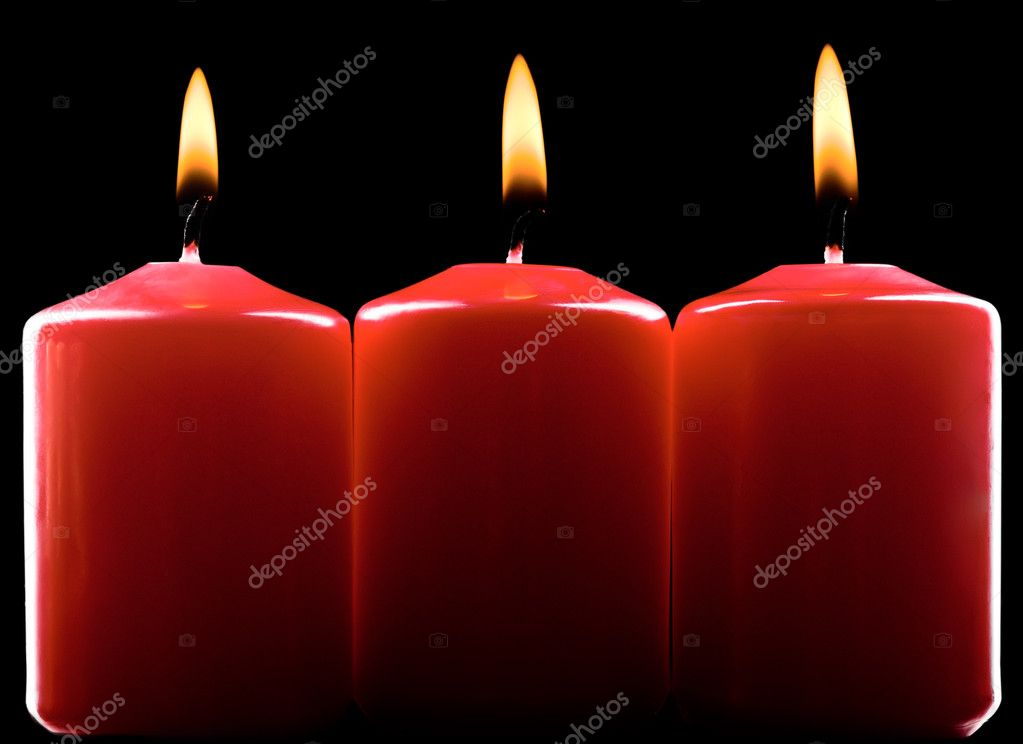 Three red burning candles over black — Stock Photo #4348651