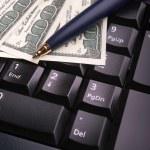 Keyboard,money and pen — Stock Photo