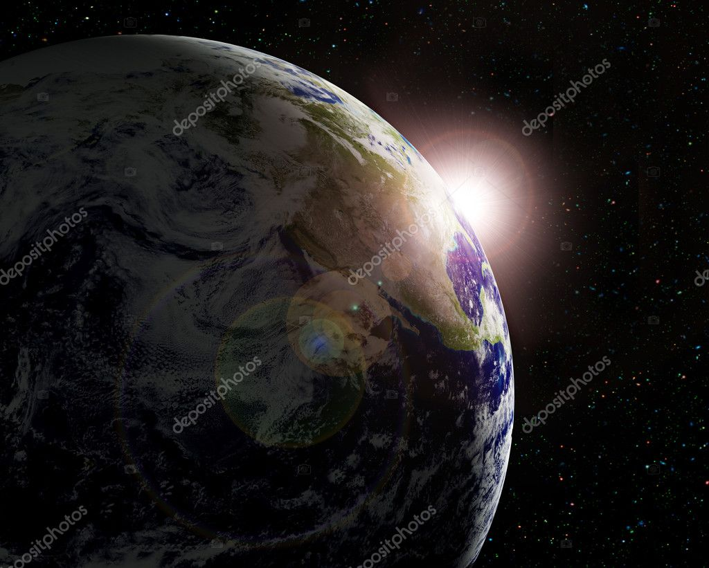 The planet Earth in sun beams — Stock Photo #5284125