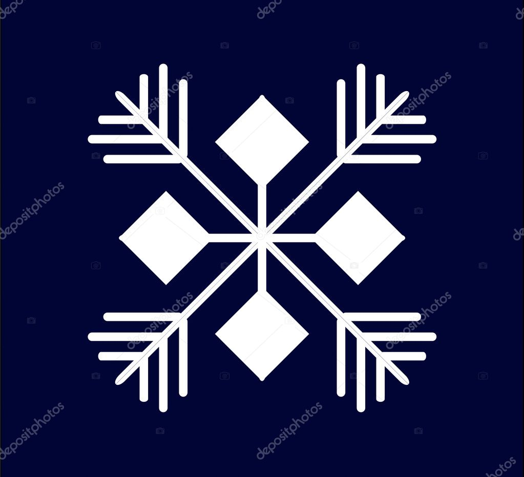 White snowflake on a dark blue background — Stock Photo #4005703