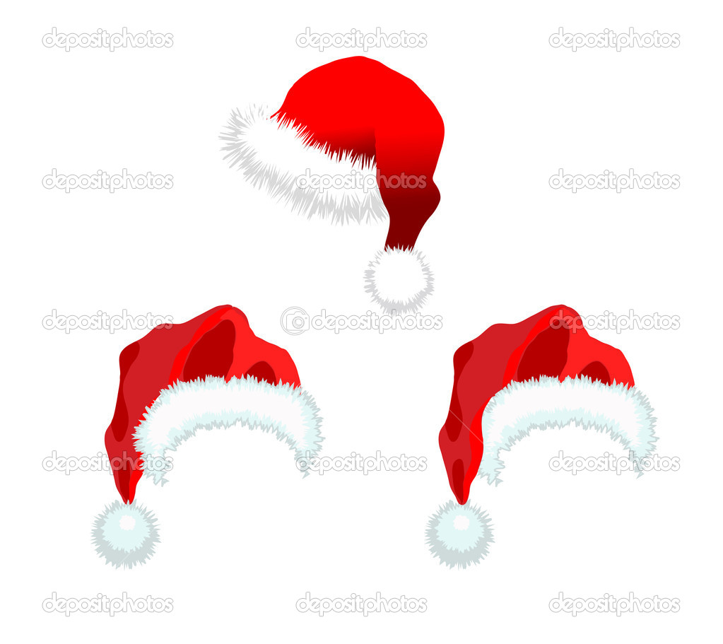 Three red Santa Claus Hat. Vector illustration isolated on white background. — Stock Photo #4005721