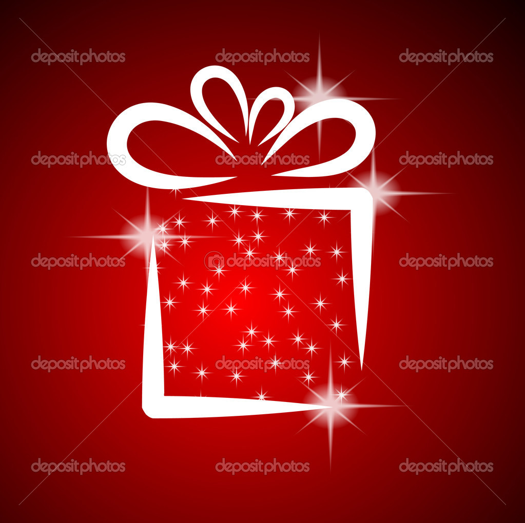 Christmas illustration with gift box on red background — Imagen vectorial #4072648