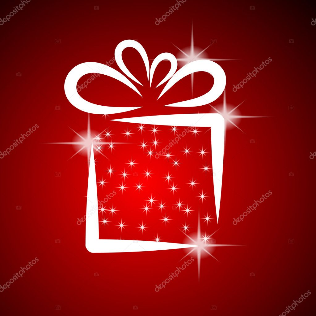 Christmas illustration with gift box on red background — Векторная иллюстрация #4072648