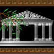 Fantasy hellenic temple and olive branch — Stock Vector