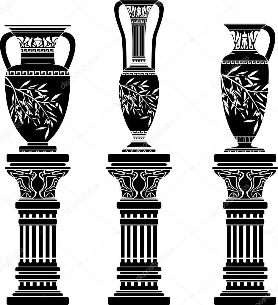 欧式柱子花瓶建筑矢量图
