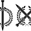 Roman swords and wreath - Vektorgrafik