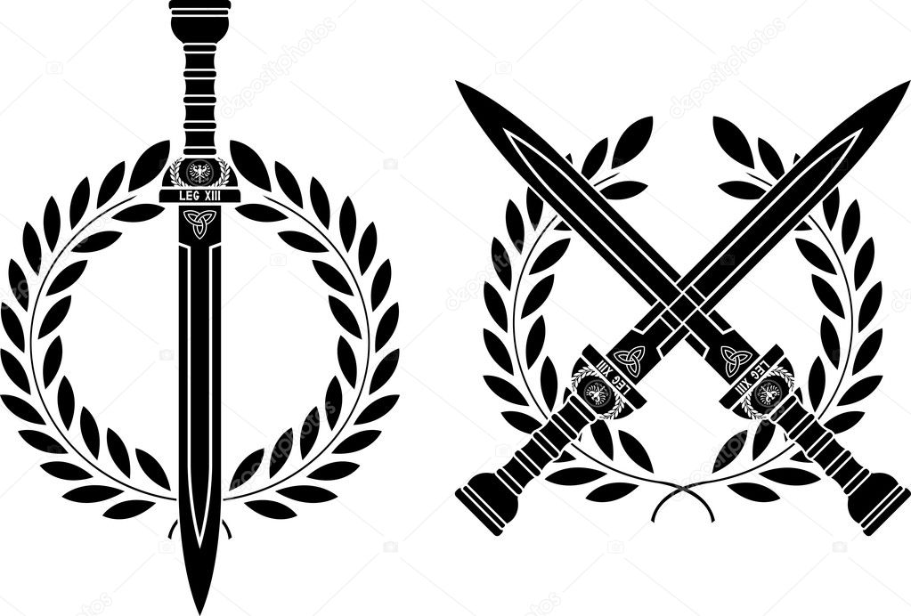 Roman swords and wreath. vector illustration — Stock Vector #4579108