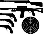 Weapons silhouettes and target. — Stock Vector