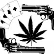 Cards, hemp and two pistols - Stock Vector
