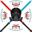Lightsabers and helmet - Stock Vector