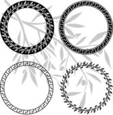 Ancient hellenic patterns in rings — Stock Vector