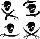 Set of pirates skulls — Stock Vector