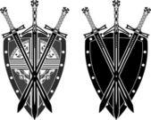 Three swords and shield — Stock Vector