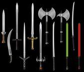 Conjunto de fantasia espadas e machados — Vetorial Stock
