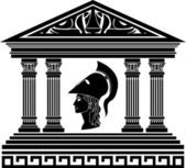 Temple of Athena. stencil — Stock Vector