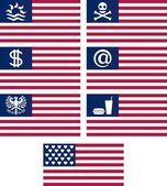 Set of fantasy american flags — Vecteur