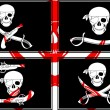 Stock Vector: Set of pirate flags