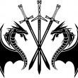 Dragons and swords - Vettoriali Stock 